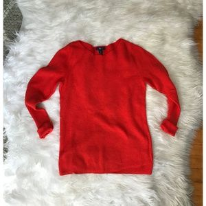 GAP Red/Orange 3/4 Sleeve Boatneck Sweater Sz M